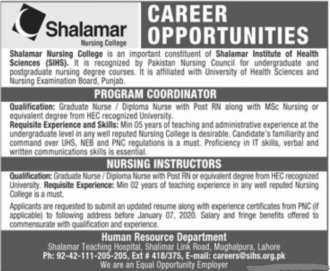 Shalamar Nursing College Jobs 2020