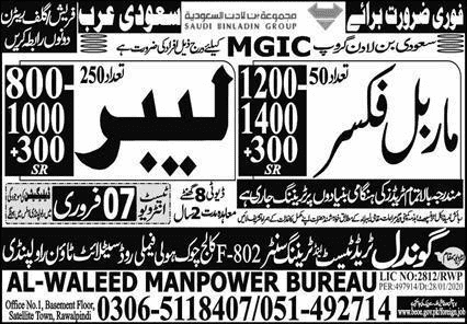 AL Waleed Manpower Bureau Jobs 2020