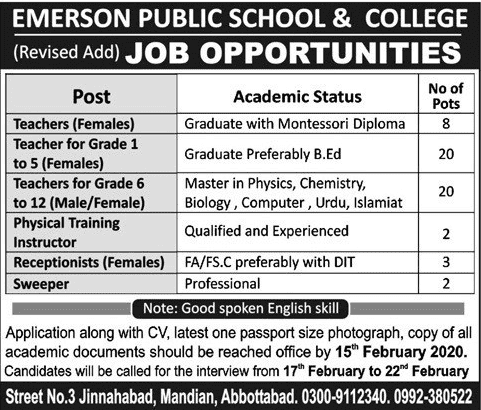 Emerson Public School Jobs 2020