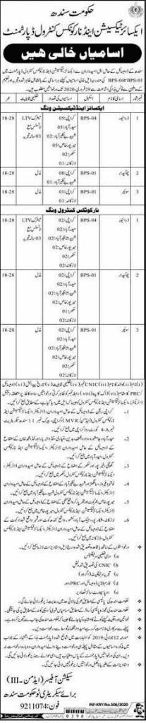 Excise Taxation Department Jobs 2020