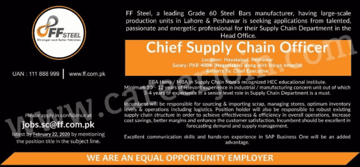 FF Steel Company Jobs 2020