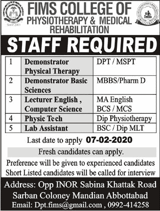 Fims College of Physiotherapy Jobs 2020