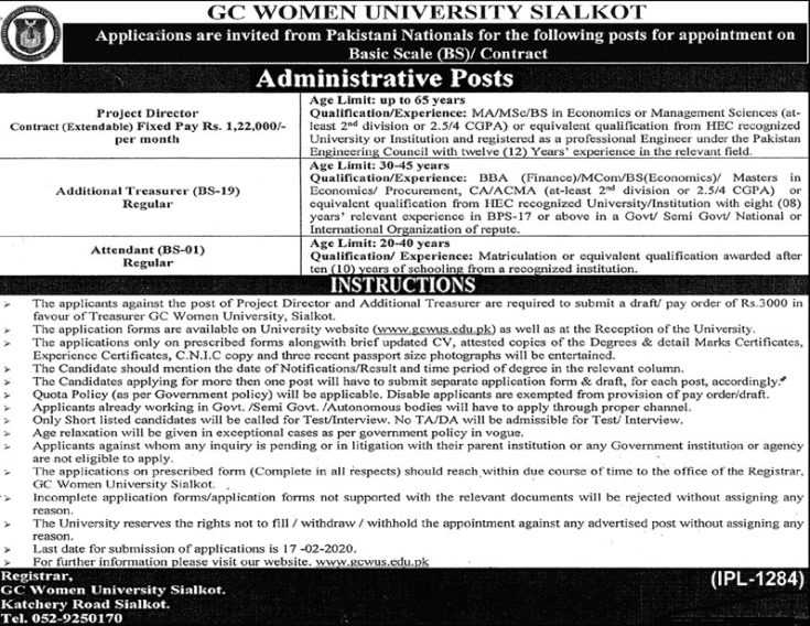 GC Women University Jobs 2020