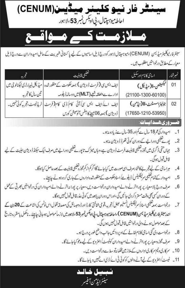 Mayo Hospital Lahore Jobs 2020