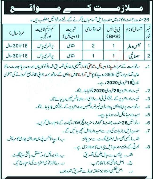Pak Army Okara Regiment Jobs 2020
