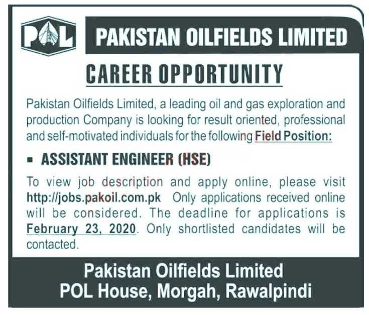 Pakistan Oilfields Limited Jobs 2020