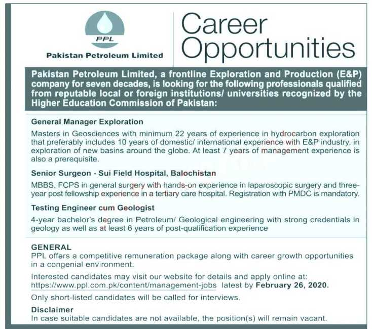 Pakistan Petroleum Ltd Jobs 2020