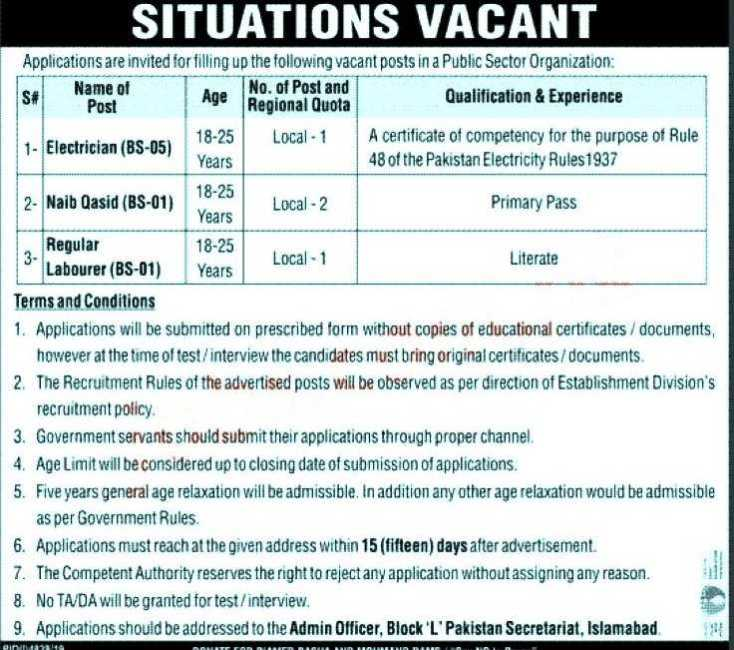 Pakistan Secretariat Islamabad Jobs 2020