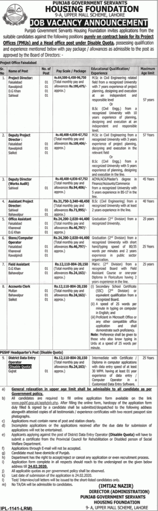 Punjab Government Jobs 2020