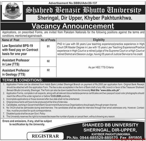 Shaheed BB University Jobs 2020
