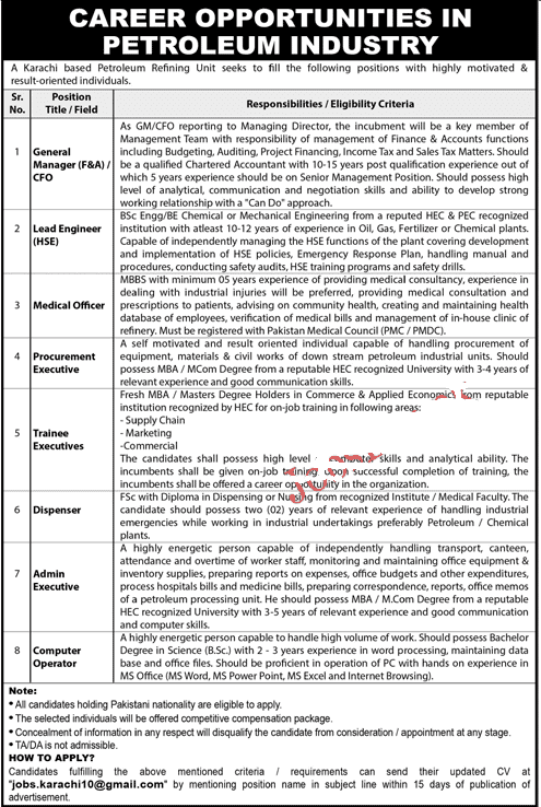 Pakistan Petroleum Industry Jobs 2020