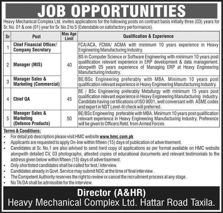 Heavy Mechanical Complex HMC Jobs 2021