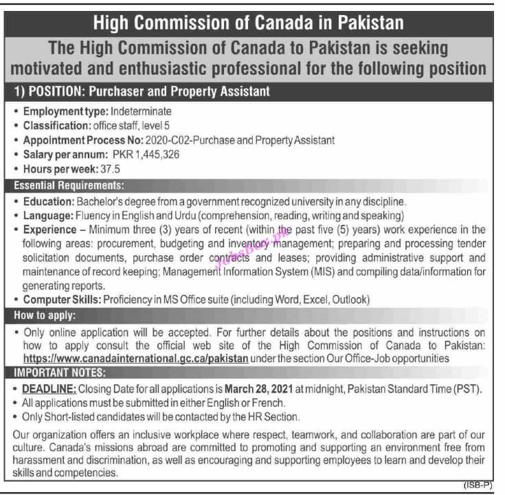 High Commission Canada Jobs 2021