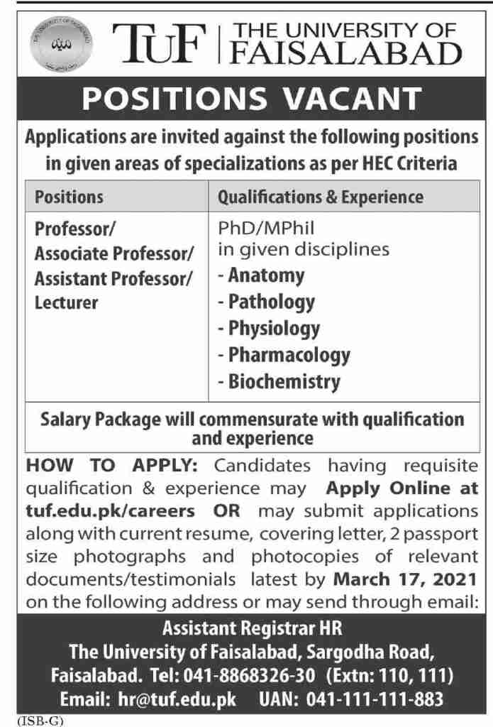 The University of Faisalabad Jobs 2021