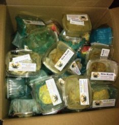 One of many boxes of marijuana and marijuana-infused products that police were forced to return to two California dispensaries.