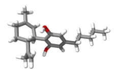 A 3D model of cannabidiol.