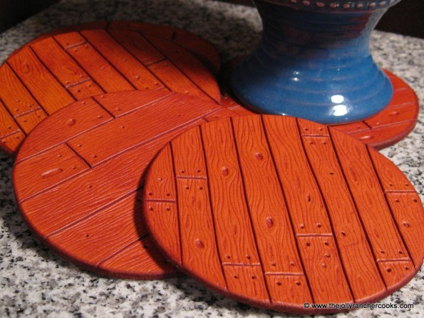 Wood-grain leather coasters