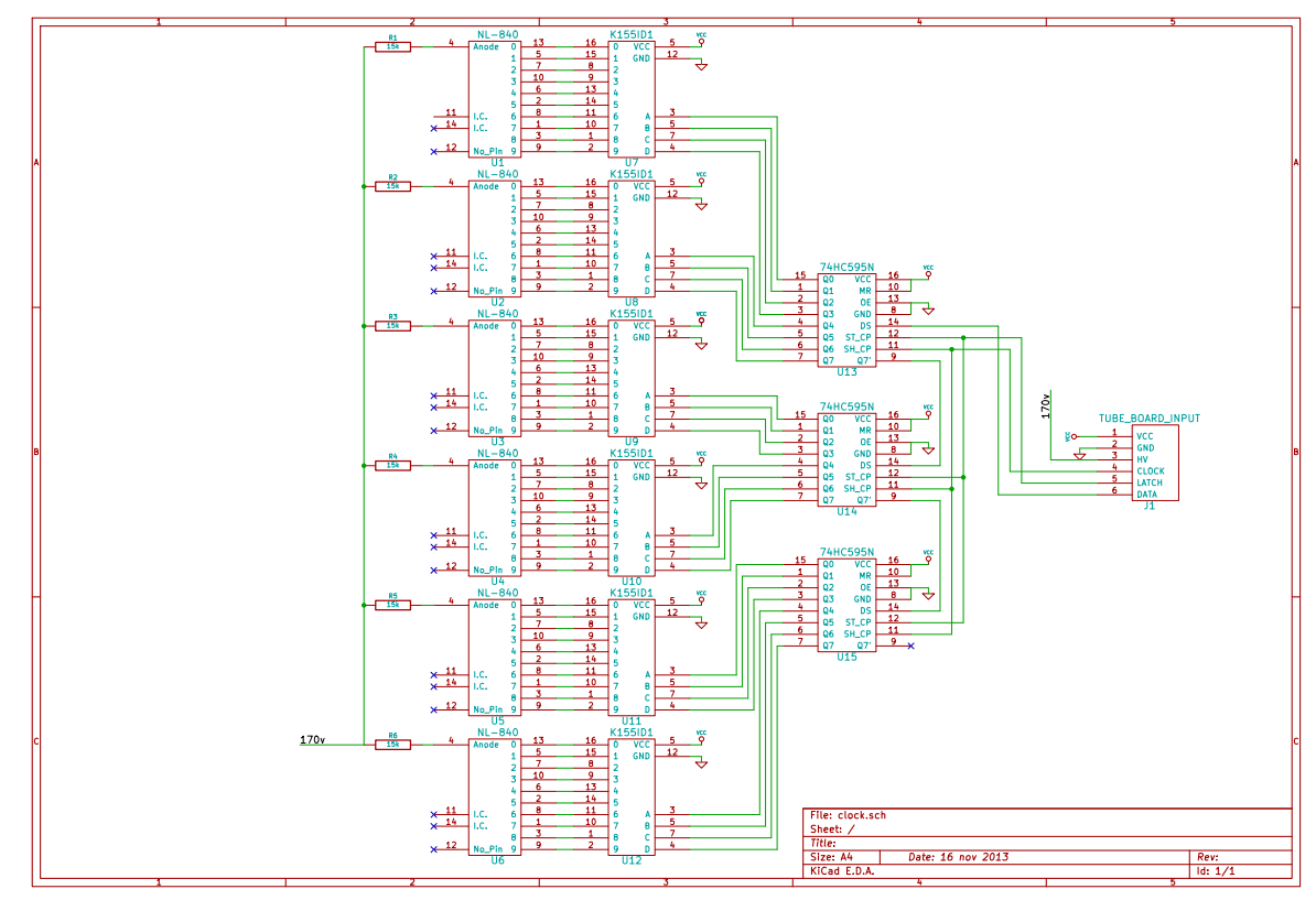 Nixie Clock Part 2 Learning Everything The Hard Way Jon Arnold Tube Schematic Page These Can Be Connected In A Row And Not Require Any More Pins On Processor To Control Them Here Is What I Came Up With After Few Hours Kicad