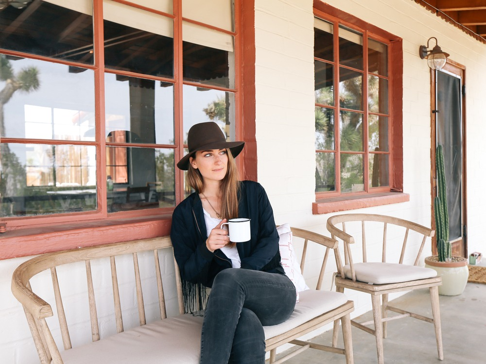 coffee on the front porch at the Joshua Tree House