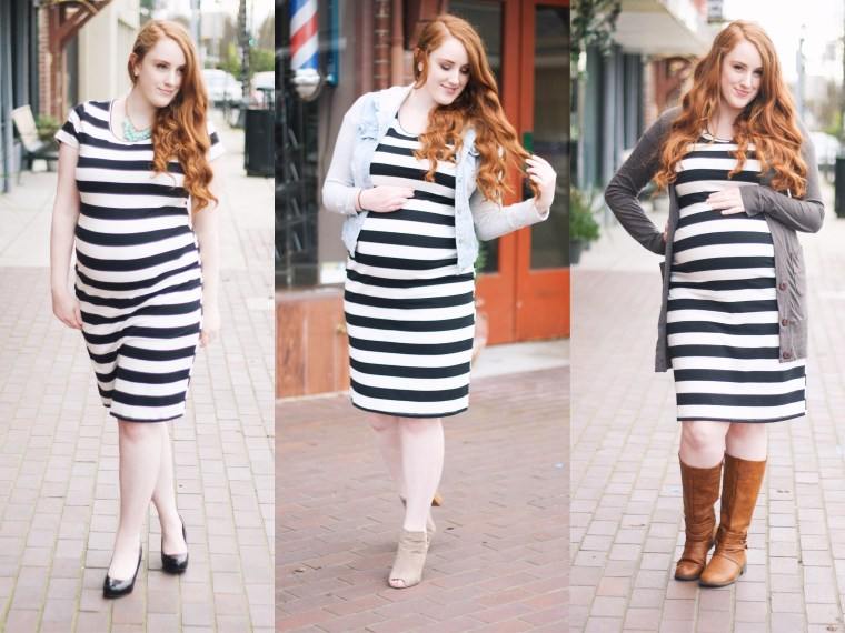 3 Ways to Style a Stretchy Maternity Dress