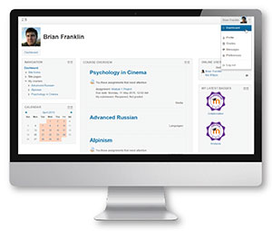 Moodle 2.9 dashboard