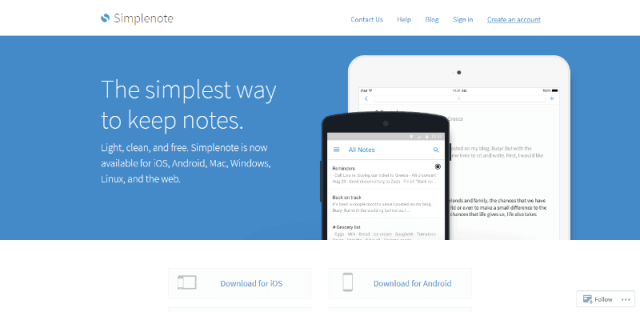 SimpleNote | Google keep notes app alternative