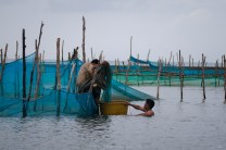 Men from the town of Santa Ana in Cagayan prepare to catch 'dalarag' or baby eels.