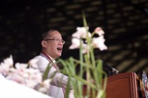 "Philippine President Benigno ""Noynoy"" Aquino III delivers his speech to graduating cadets of Philippine Military Academy of 2013."