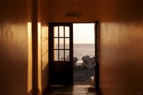 An exit of a small hotel leads to the beach of Mina De Oro in Vigan City, Ilocos Sur.