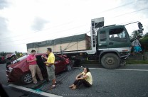 Three vehicles bound for north are seen involved in a road accident around Pampanga North Luzon Expressway,