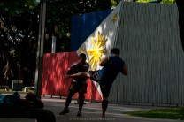 Toughing up for the country. Martial artists takes practice early morning at a park in Metro Manila.