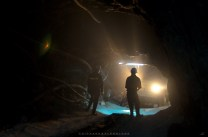 Mine safety personnel are seen inside a 1,500 meter deep mining shaft at a mining industry in Mankayan in Benguet.