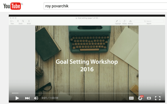 Goal setting workshop session