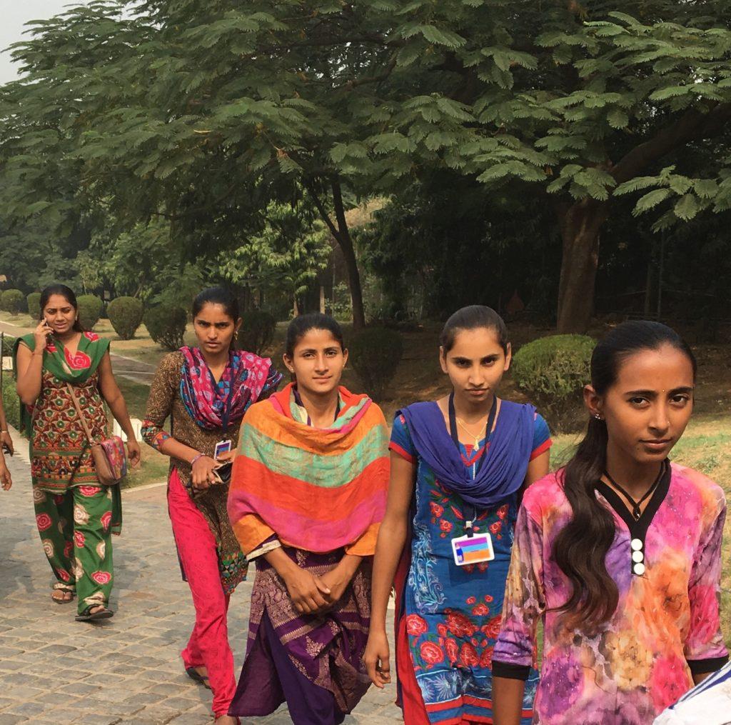 Indian girls staring at me at Lotus Tmple