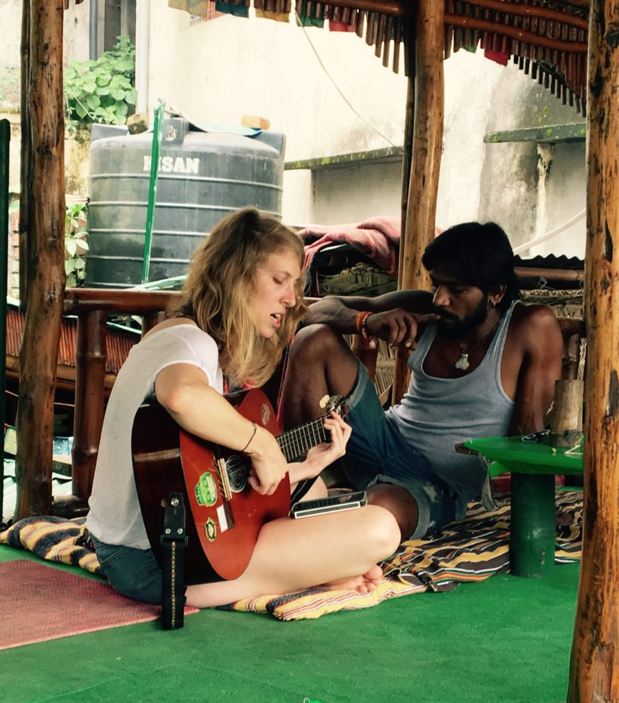 Making music in a Rishikesh cafe