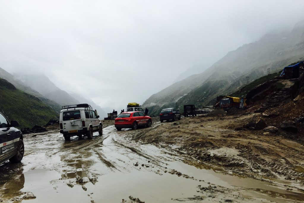The muddy road of Rhotang pass during the monsoons