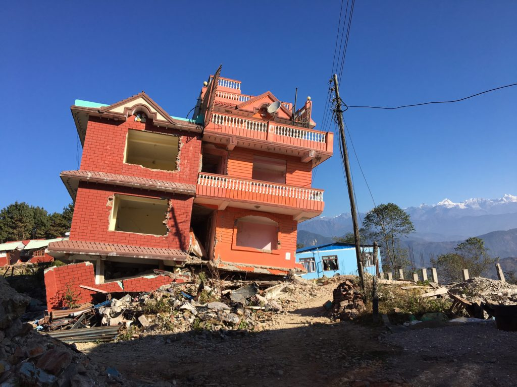 Earthquake damage in Chisapani, Nepal