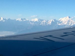 Mountains of Nepal outside the airplane