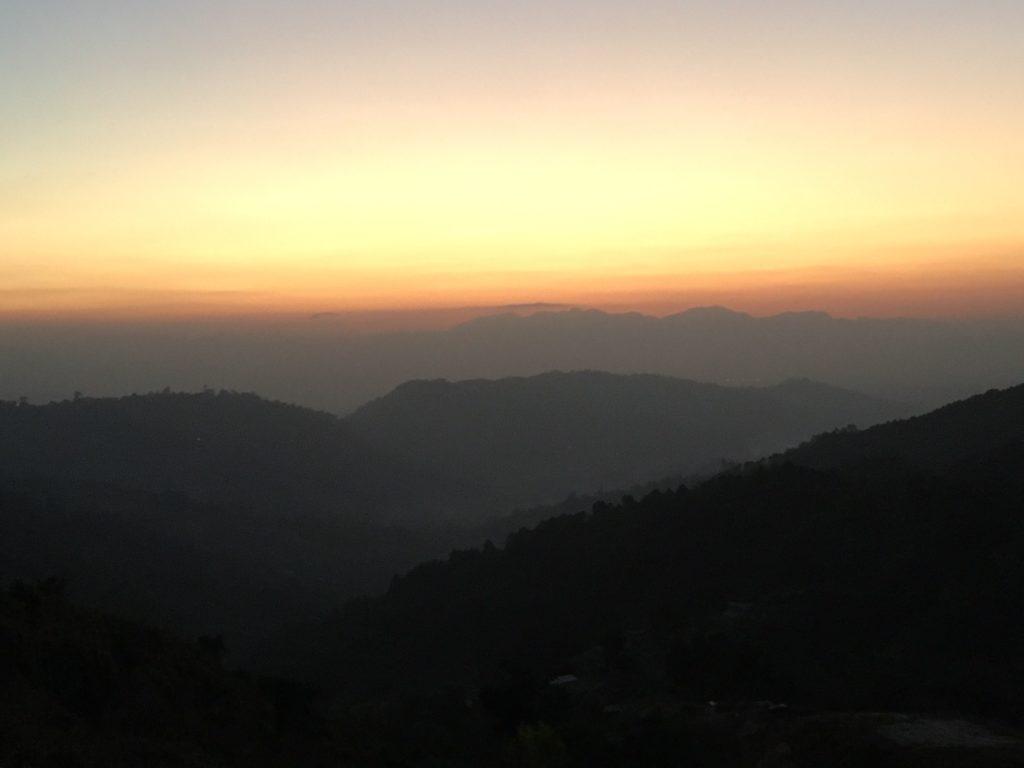 Sunrset over the Himalaya Mountains of Nepal
