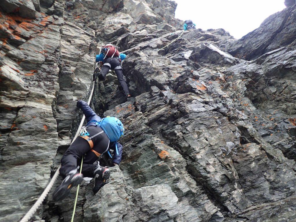 Tackling a steep ascent on the Matterhorn