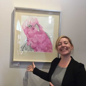 Meg from The Journey Studio with sold galah painting