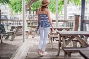 White Jeans striped Cami