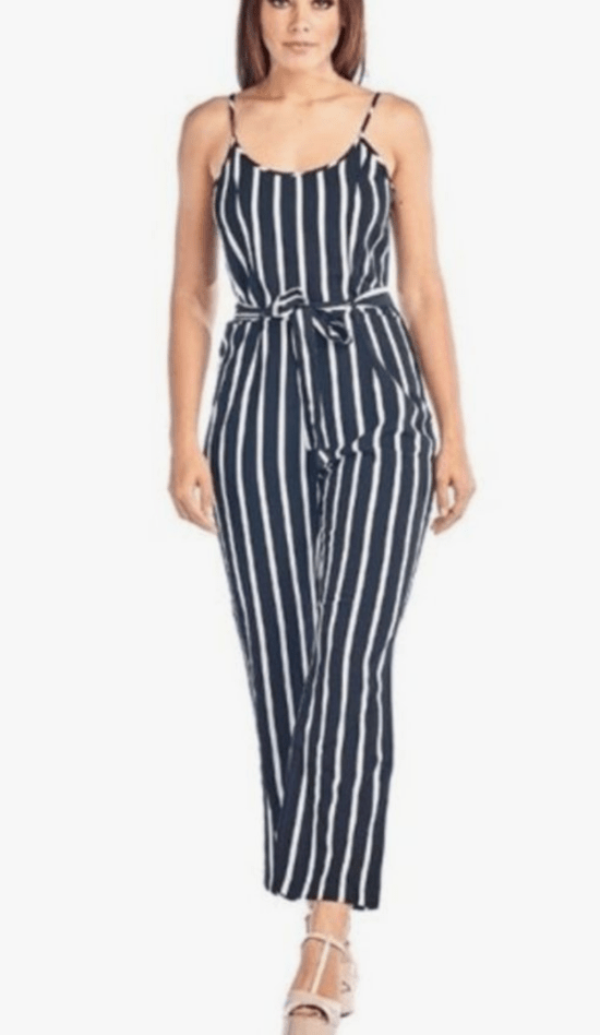 Dress slimmer in a vertical striped jumpsuit