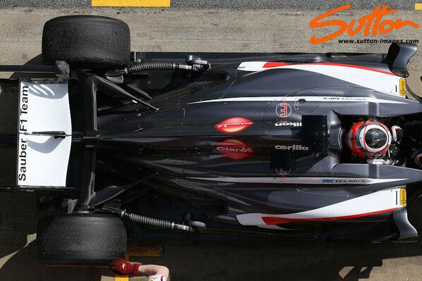 ... and here on the Sauber, it's fatter despite the narrow side pods