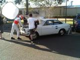 ..back from hospital, Jenson shooting a viral campaign for Vodafone's Australian subsiduary