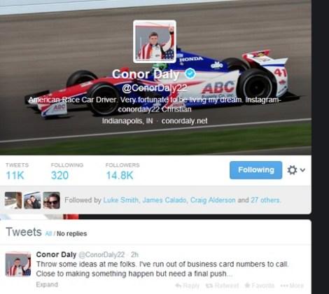 Conor Daly tweet 06-02-14
