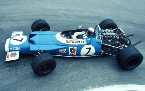 Jackie Stewart's Matra at Monaco, with front spoilers only