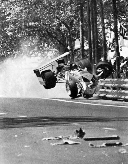 Jochen Rindt flying at Montjuich Park