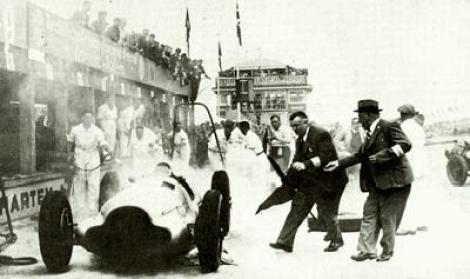 Von Brauchitsch's Mercedes going up in flames