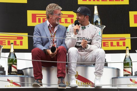 2014 Spanish Podium - Lewis Hamilton and Eddie Jordan